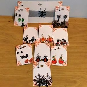 13 pairs of Halloween earrings